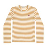 Play Colour Series Little Red Heart Striped Long-sleeved T-Shirt (Yellow/White)