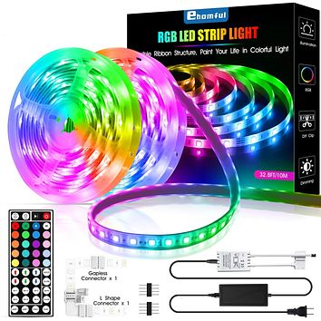 LED Strip Lights, Ehomful 32.8ft Color Changing RGB LED Tape Light with Remote Controller, Premium 5050 RGB 300 LEDs for Bedroom,Room,Home,Kitchen and Party Christmas,3M Adhesive with 4 Pin Connectors