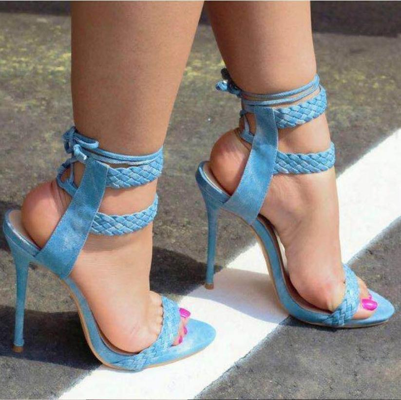 Image of Weave Strappy Fashion Women Peep Toe Sandals High Heels Shoes