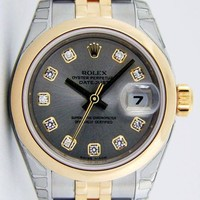 NEVER WORN Rolex Lady Datejust Gold Steel Silver Diamond 179163 Jubilee - WATCH