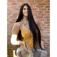 Dark Brown Silky Straight Hair Middle Part Lace Front Wig 819 HALANI