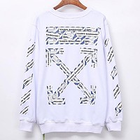 Off White New fashion letter arrow print couple long sleeve top sweater White