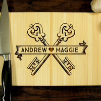 Personalized Wedding Gift, Custom Engraved Wood Cutting Board, Banner Key Design, Wood Anniversary Gift, Housewarming Gift, Hostess Gift