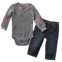 Carter's Patch Thermal Bodysuit & Jeans Set - Baby