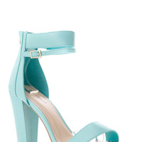 Bamboo Two Layered Ankle Strap Chunky Heel - Default
