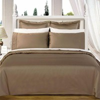 Taupe Solid Down Alternative 4-pc Comforter Set 100% Combed cotton 550 Thread count