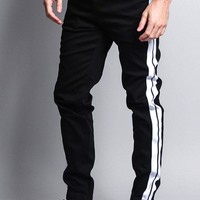 Men's Track Style Thick Striped Joggers