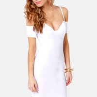 Strappily Ever After Off-the-Shoulder White Dress