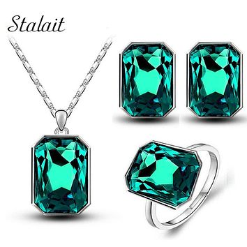 3pcs/set Queen Brand Bridal Wedding Crystal Square Pendant Necklace Earring Ring Fashion Jewelry Sets For Party Glass Jewelry