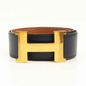 AUTHENTIC HERMES CONSTANCE 42 H LEATHER BELT 80 NAVY BROWN GRADE B USED- AT