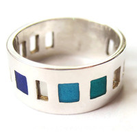 Vintage modernist enamel and sterling silver ring with pierced panels, peacock colours, marked Joidart, blue jewellery. #200.
