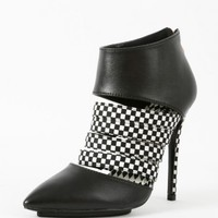 My-Way Pointy Leatherette Checkered Booties   MakeMeChic.com