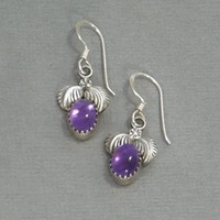 SIGNED Vintage NATIVE American Indian Sterling EARRINGS Amethyst Flower Blossom Drop Navajo Artist Jason Livingston, Womens Gemstone Jewelry