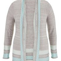 Plus Size - Lightweight Patterned Stripe Cardigan - Gray