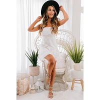 Searching For Love Strapless Lace Dress (White)