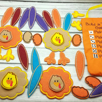 Build a turkey dice game embroidered, thanksgiving, holiday toy, puzzle, felt board, building toy, learning, activity, travel, kids children