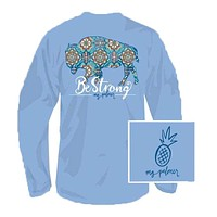Be Strong Long Sleeve Tee Shirt in Sky Blue by MG Palmer