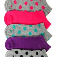5 Pack of No Show Ankle Socks with Polka Dots