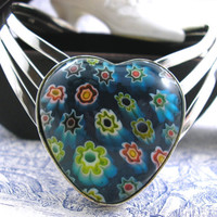 Heart Shaped Vintage Murano Glass Millefiori Heart 925 Silver Bangle