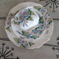 Vintage Royal Albert Bone China Teacup Flower of the Month Series Morning Glory October Birthday Gift Cottage Chic Floral Tea Cup and Saucer