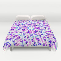 Lavender & Purple Single Rose Swirl Unusual Rose Series #2 Duvet Cover by 2sweet4words Designs