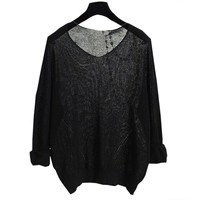 Black Batwing Sleeve V-Neck Knitted Blouse