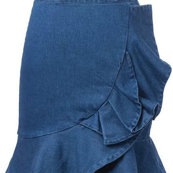 Blue Frilled Bodycon Denim Skirt