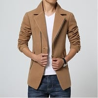 Men Trench coat Korean fashion blue Overcoat short thick fall winter fitted pea coat slim 3XL 2017 Male clothing