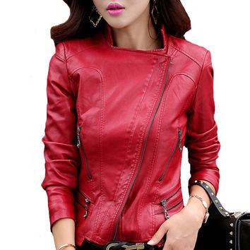 Plus Size M-5XL Slim Rivet Leather Coat