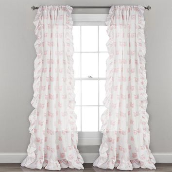 Fox Frenzy Ruffle Window Curtains
