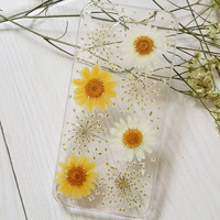 Handmade Real  Natural Pressed Flowers iphone 6 6 plus case iphone 4s 5 5s 5c case cover nsamsung galaxy s5 note 2 note 3  case yellow white