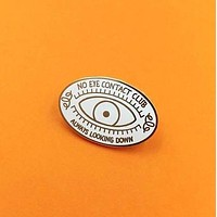 No Eye Contact Club Enamel Pin in White and Gold