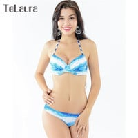 2016 Newest Tie Dye Bikini Push up Brazilian Thong Swimsuit Women Halter Bathing Suit Summer Maillot De Bain Femme Biquinis