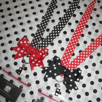 Disney Minnie Dot LANYARD with BOW ticket holder Cruise ID fast pass rileyjane designs