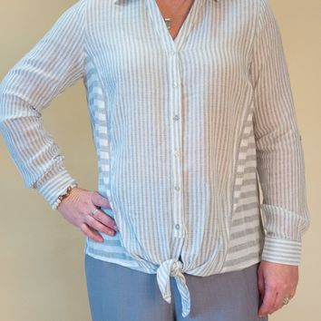 Picadilly - Tie-Front Blouse in Gray