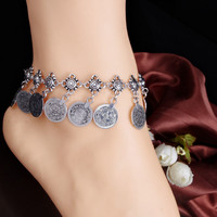 Silver Retro Metal Coin Tassel Anklets
