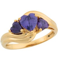 10k Real Gold Simulated Amethyst Hearts Twisted Design Band Special Ladies Ring