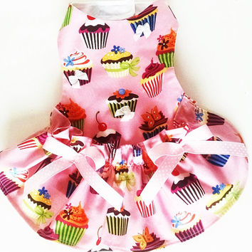 Cupcake Dog Dress Pink Dog Clothes Puppy Yorkie Chihuahua All Sizes