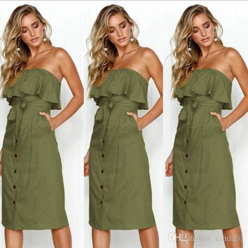 Women Sexy Summer Casual Solid Color Midi Dresses Female Strapless Backless Dressess with Sashes Buttons Ruffle Free Shipping