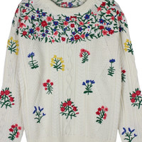White Embroidered Floral Knit Sweater