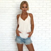 Tri Again Tank Top In Ivory