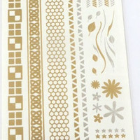 Temporary Metallic Jewelry Gold Silver Flash Tattoos - Variation 6