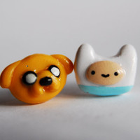 Adventure Time Finn and Jake Earrings by AllisAdornments on Etsy