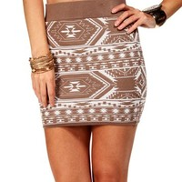 Taupe/Ivory Tribal Bodycon Skirt
