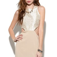 NAVEN 2 Tone Cutout Dress - Womens Dress - White -