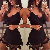 Fashionable Sexy Black Lace suspender dress mesh stitching nightclub dress