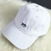 Summer White Fish Embroidered Baseball Cap Hat