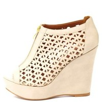 Qupid Zip-Up Cut-Out Peep Toe Wedges by Charlotte Russe - Stone