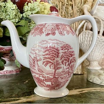 Vintage Red TRANSFERWARE Tall Coffee Pot or Tea Pot Teapot w/ Cattle Cows Peonies