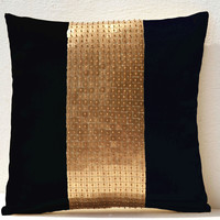 Throw Pillow covers - Black gold color block in silk and sequin bead detail cushion - sequin bead pillow - 16X16 black pillow - gift pillow
